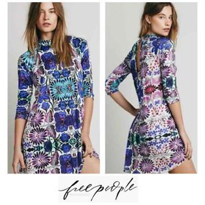 Free People Fiesta Floral Mini Tunic Dress M